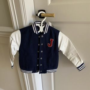 Janie in Jack jacket with leather sleeve size 3-4